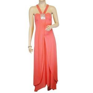 BCBG MAXAZRIA Coral Silk Size 6 Evening Gown